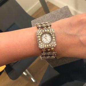 Accessories - Women Watch with iridescent rhinestones & beads